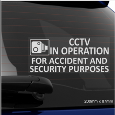 1 x CCTV In Operation for Accident and Security Purposes Window Sticker-200mm x 87mm-CCTV Sign-Van,Lorry,Truck,Taxi,Bus,Mini Cab